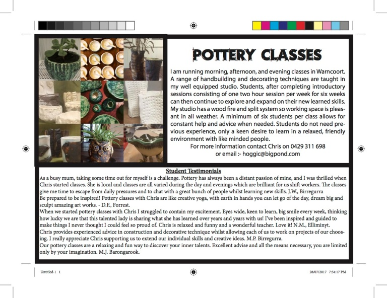 Ad for Pottery classes