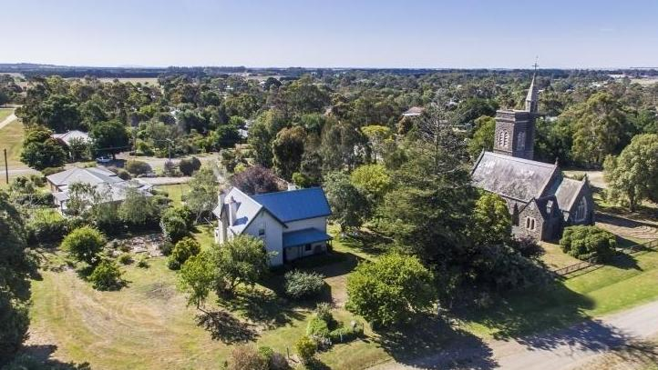 Aerial view of Christ Church Birregurra and vicarage