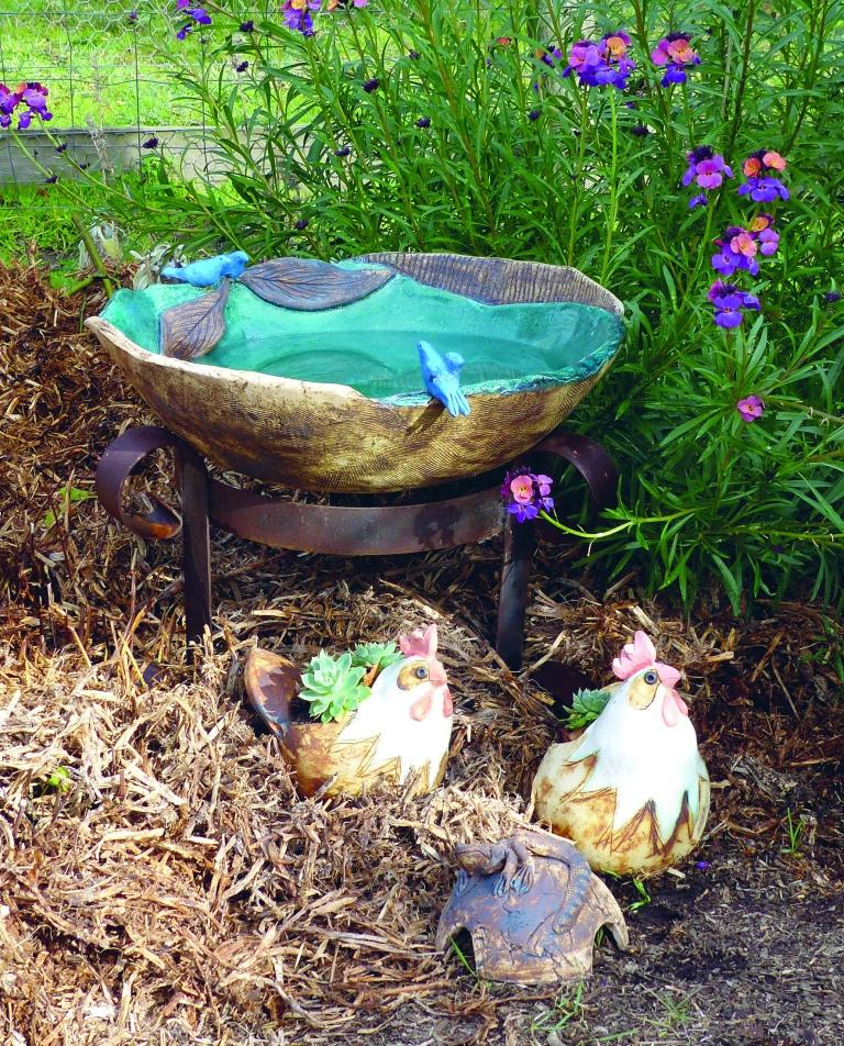 my bird bath with chook planters